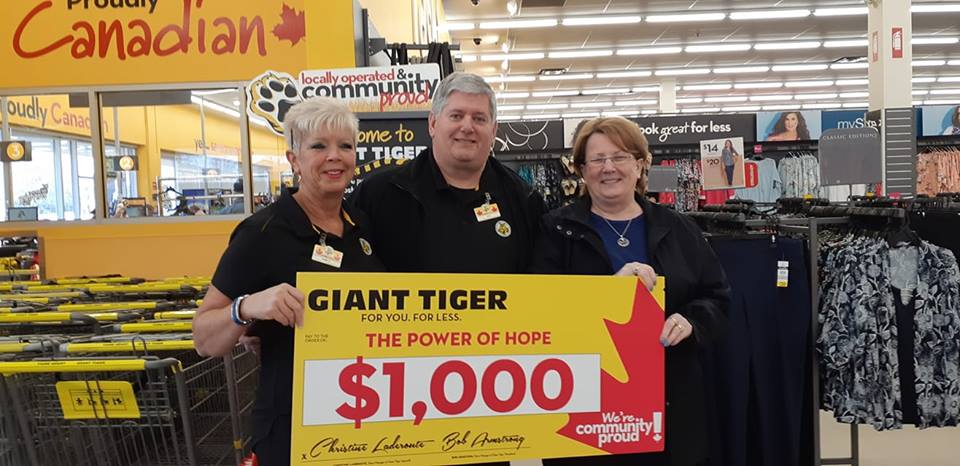 Giant Tiger donates cheque to Power of HOPE London Chapter